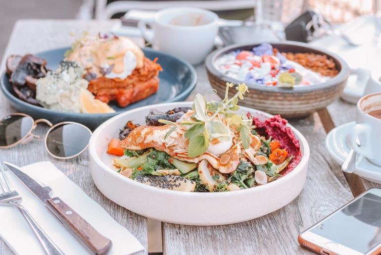 Healthy cafe meal in Melbourne
